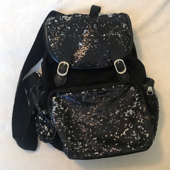 Xhilaration Bags   Black Sparkly Backpack   Poshmark 99cabd119a